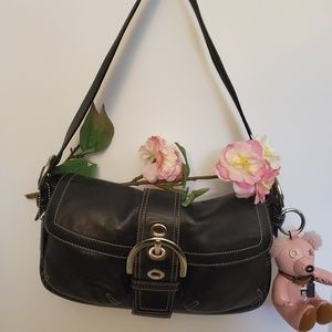 Coach black leather handbag.